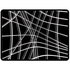 Black and white warped lines Fleece Blanket (Large)