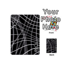 Black and white warped lines Playing Cards 54 (Mini)