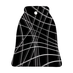 Black and white warped lines Ornament (Bell)
