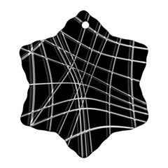 Black and white warped lines Snowflake Ornament (2-Side)