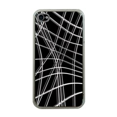 Black and white warped lines Apple iPhone 4 Case (Clear)