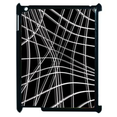 Black and white warped lines Apple iPad 2 Case (Black)