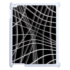 Black and white warped lines Apple iPad 2 Case (White)