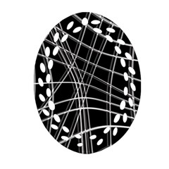 Black and white warped lines Oval Filigree Ornament (2-Side)