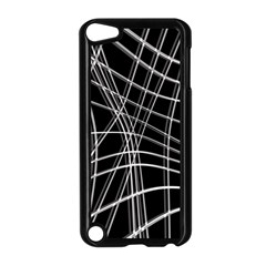 Black and white warped lines Apple iPod Touch 5 Case (Black)