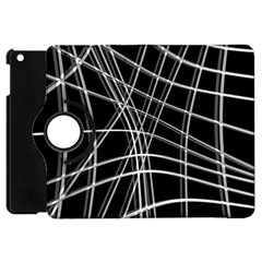 Black and white warped lines Apple iPad Mini Flip 360 Case