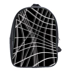 Black and white warped lines School Bags (XL)