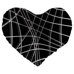 Black and white warped lines Large 19  Premium Heart Shape Cushions