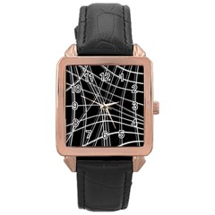Black and white warped lines Rose Gold Leather Watch