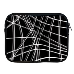 Black and white warped lines Apple iPad 2/3/4 Zipper Cases