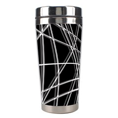 Black and white warped lines Stainless Steel Travel Tumblers