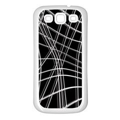 Black and white warped lines Samsung Galaxy S3 Back Case (White)
