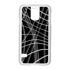 Black and white warped lines Samsung Galaxy S5 Case (White)