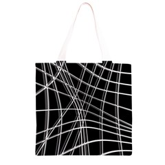 Black and white warped lines Grocery Light Tote Bag