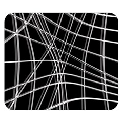 Black and white warped lines Double Sided Flano Blanket (Small)