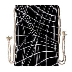 Black and white warped lines Drawstring Bag (Large)