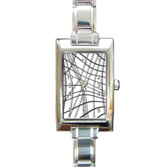White and black warped lines Rectangle Italian Charm Watch