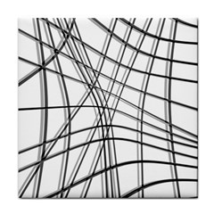 White and black warped lines Tile Coasters