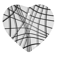 White and black warped lines Ornament (Heart)