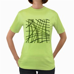 White and black warped lines Women s Green T-Shirt