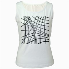 White and black warped lines Women s White Tank Top