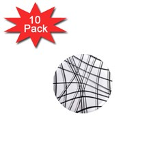 White and black warped lines 1  Mini Magnet (10 pack)