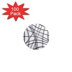White and black warped lines 1  Mini Magnets (100 pack)
