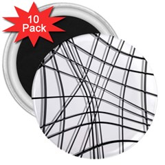 White and black warped lines 3  Magnets (10 pack)