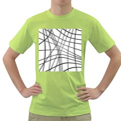 White and black warped lines Green T-Shirt