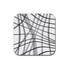 White and black warped lines Rubber Square Coaster (4 pack)