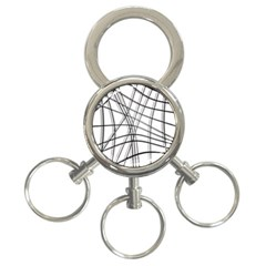 White and black warped lines 3-Ring Key Chains