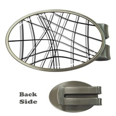 White and black warped lines Money Clips (Oval)