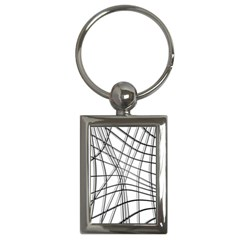 White and black warped lines Key Chains (Rectangle)