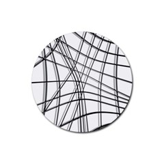 White and black warped lines Rubber Coaster (Round)