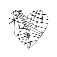 White and black warped lines Heart Magnet