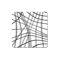 White and black warped lines Square Magnet
