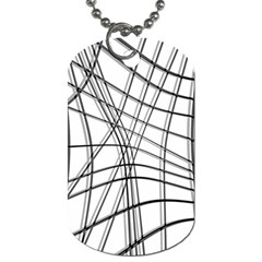 White and black warped lines Dog Tag (One Side)