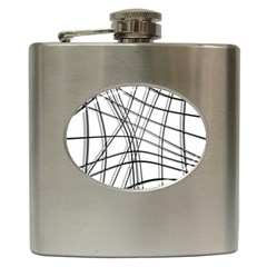 White and black warped lines Hip Flask (6 oz)
