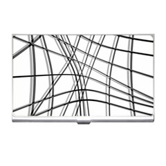 White and black warped lines Business Card Holders
