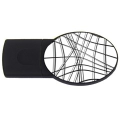 White and black warped lines USB Flash Drive Oval (1 GB)