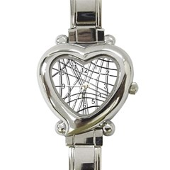 White and black warped lines Heart Italian Charm Watch
