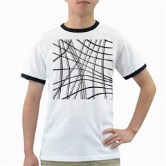 White and black warped lines Ringer T-Shirts