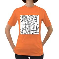 White and black warped lines Women s Dark T-Shirt
