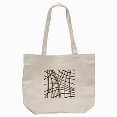 White and black warped lines Tote Bag (Cream)
