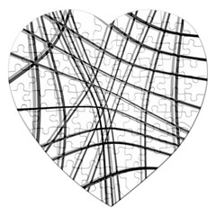 White and black warped lines Jigsaw Puzzle (Heart)