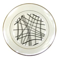 White and black warped lines Porcelain Plates