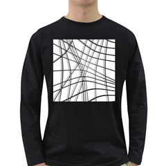 White and black warped lines Long Sleeve Dark T-Shirts