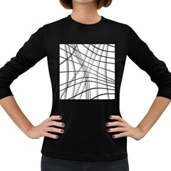 White and black warped lines Women s Long Sleeve Dark T-Shirts