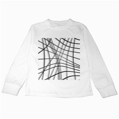 White and black warped lines Kids Long Sleeve T-Shirts