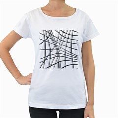 White and black warped lines Women s Loose-Fit T-Shirt (White)